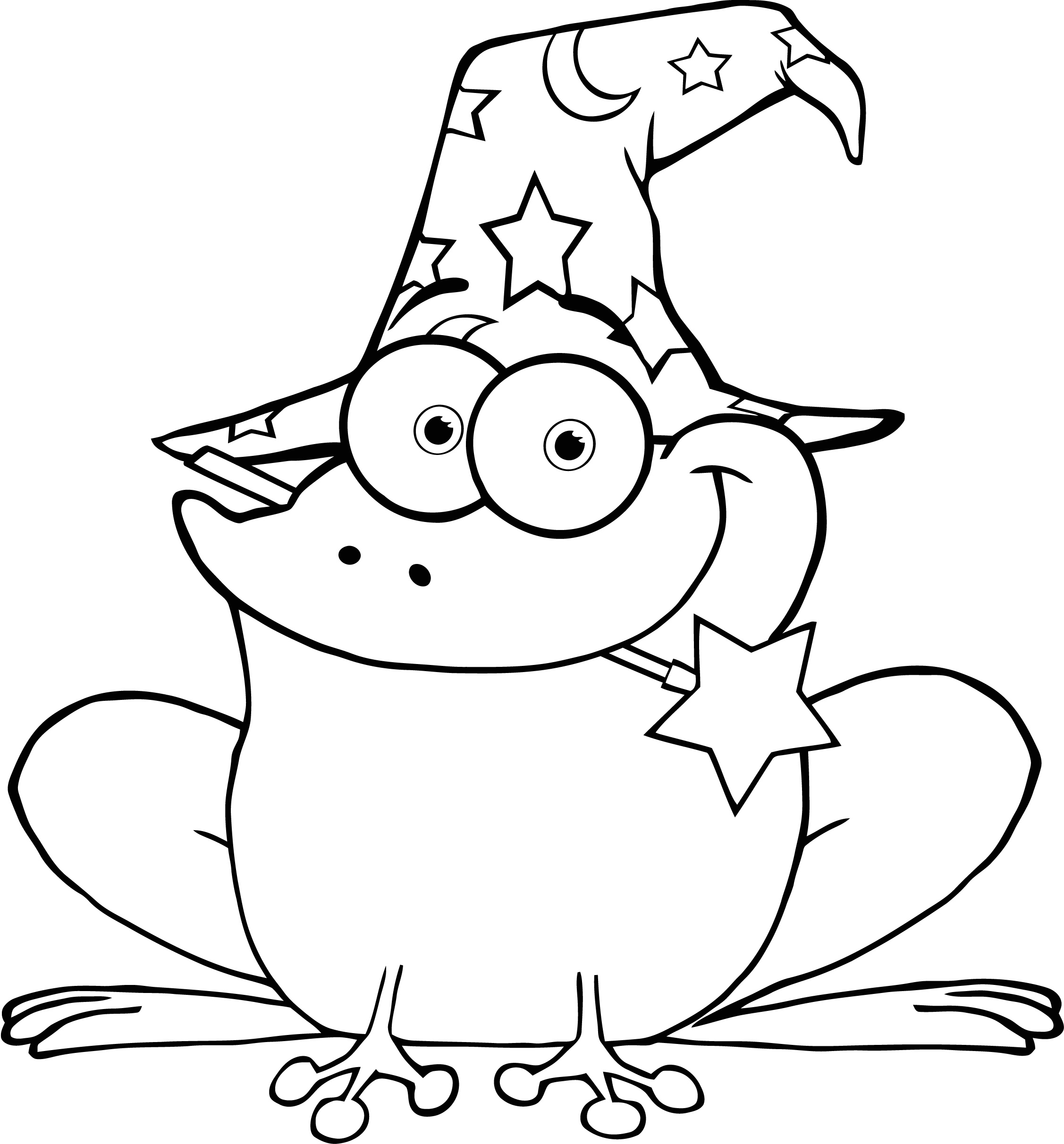 Coloring Pages Dragons Wizards Sizzors Colour Page Of Wizard Frog With A Magic